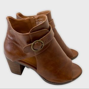 Addition Elle Peep Toe Ankle Booties Brown Size 9W